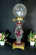 French Vintage Crystal Glass Cut Table Lamp Cranbrerry Glass Shade Rare 1960