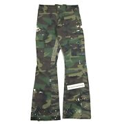 Gallery Dept. Slim Fit Flared Paint Splattered Panelled Cargo Trousers Size 31