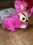 Vintage Chinese Bobble Head Parade Dragon Hand Painted With Pink Fringe