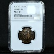 1670 Saint Patrick 1/4p ✪ Ngc Vf-25 ✪ New Jersey St Farthing L@@k Now ◢trusted◣