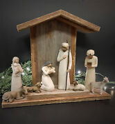 Handcrafted Barn Wood Creche For Willow Tree Nativity - Mantle Figs Not Incl