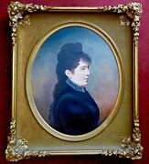 Portrait Of Mrs. Hyde By Susan J. Hoyt 1849-1899. Signed Oil On Canvas.1879