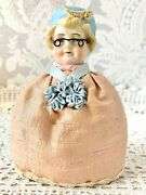 Sweet Antique Lady Pincushion Doll With Glasses Nice Condition German