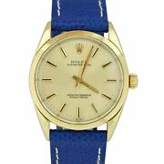 Vintage Rolex Oyster Perpetual Champagne 34mm 14k Gold Shell Leather Watch 1024