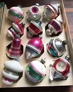 12 Vintage Shiny Brite Mica, Frosted, Indent, Atomic, Bells Christmas Ornaments