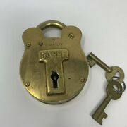 Antique Vintage Lock Admiralty 7 Jared Old English Solid Brass 4 Levers 2 Keys