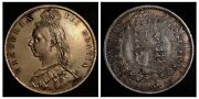 1887 Great Britain 1 Shilling - Victoria 2nd Portrait 1st Type Natural Tone