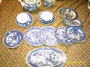 14 Pc Occupied Japan Childand039s Blue Willow Dishes Set