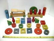 Vintage Holgate Wooden Stacking Blocks Etc And Two Train Cars