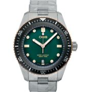 Oris Divers 01 733 7707 4357-07 8 20 18 Green Dial Menand039s Watch Genuine