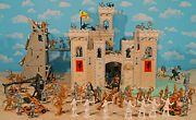 Deluxe Wooden Castle Knights Playset - 60mm Unpainted Toy Soldiers Wood Castle