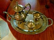 F B Rogers 1883 Silver Plated Tea Pot, Creamer, Sugar, And Serving Tray 1949