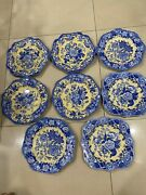 8 The Spode Blue Room Garden Collection Blue Rose 9 Octagon Luncheon Plates