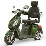 3 Wheel Electric Mobility Scooter Long Range Disc Brakes Storage Green Camo