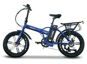 Fat Tire Folding Electric Bike 48v 500w 7-speed Lcd Display 5 Pas Levels Blue