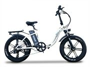 750w Folding Step Through Electric Bike Mag Wheels 7-speed Led Lights 4 Colors
