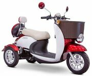 Red Euro Electric Mobility Scooter 3 Wheel Lights Alarm 2 Seater Key Start
