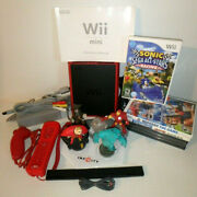 Nintendo Wii Mini Red/ Black System Complete W/ Sensor Bar Games And More / Tested