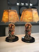 Vintage Ok Collection Pair Of Porcelain Table Lamps Courting Couple