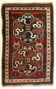 Authentic Antique Hand Knotted Caucasian Kazak Tribal Wool Red Oriental Rug 4x6