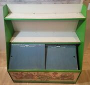 Vintage Fairy Tales Characters Wood Sliding Chalkboard Doors Toy Chest Shelving