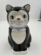 Vintage Kitty Cat Cookie Jar Black And White Tuxedo, Ceramic. See Photos For Flaws
