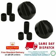 2 X Control Knob Dial Switch Kit Fits Bbq Grill Barbecue In Black With Adaptors