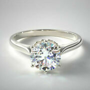 Real 0.75 Ct Diamond Wedding Ring For Women Solid 14k White Gold Rings Size 7 8