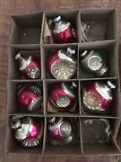 8 Vintage Shiny Brite Double Indent Christmas Tree Ornaments
