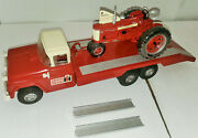 1/16 Vintage Custom Buddy L Tractor Hauler W/ramps And Ih 350 Demonstrator Tractor