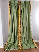 Curtain Vintage Green Silk French Floral Roses Embossed Stunning Heavy 103 Long