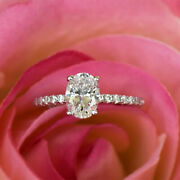 Excellent Oval 1.05 Ct Real Diamond Wedding Ring Solid 14k White Gold Size 7 8 9