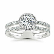 Beautiful 1.60 Ct Real Diamond Engagement Ring Solid 14k White Gold Size 5 6 7 8