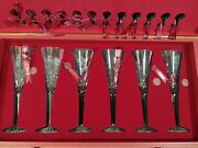6 New Waterford 12 Days Of Christmas Crystal Flutes And Storage Chest Nos