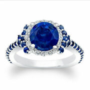 1.72 Ct Real Diamond Blue Sapphire Ring Solid 14k White Gold Gemstone Size 7 8 9
