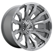 22 Inch 6x135 4 Wheels Rims 22x12 -44mm Brushed Gun Metal Tinted Clear Fuel 1pc
