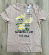 J. Crew Womenand039s Fleurs Sauvages Graphic T Shirt - Warm Desert Brown - Nwt