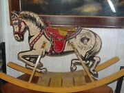 Vintage 1930's Tom Mix And Tony Antique Ride On Rocking Horse On Wooden Rails