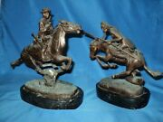 Vintage Pair Of Trooper Of The Plains And Cheyenne Sculpture Frederic Remington
