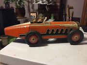 Antique Marx Tin Roadster Race Car Toy W/ Driver