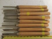 8 Vintage Lathe Wood Turning Tools Set Lot 14andrdquo Chisels Gouge Carving Woodworking