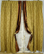 Spectacular Pair Long Antique French Silk Brocade Chateau Curtains, Drapes 19thc