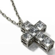 New Yb130 G Cube Crystal And Sterling Silver Cross Pendant Necklace