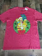 Mens The Simpsons Size Medium Red Christmas Wreath Family Tshirt New With Tags