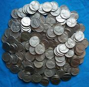 215 Junk Jefferson Nickels 1938-1959 Pds With 4 Silver War And 19 Key Dates.