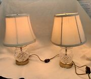 """Two Vint. Waterford Crystal And Brass 12"""" Lamps With Original Silk Shades, Working"""