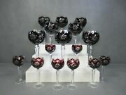 Set Of 16 Czech Bohemian Ruby Red Cut To Clear Water Wine Cordial Glasses...mint