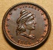 Civil War Token Fuld 47/332a Choice Unc - Liberty / Our Army - Early Die States