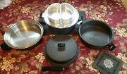 Vintage Miracle Maid Aluminum Cookware 7 Piece Set W/handle Steamer Recipe Guide