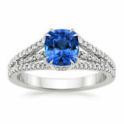 Real 1.75 Ct Diamond Blue Sapphire Gemstone Ring Solid 950 Platinum Rings Size 9